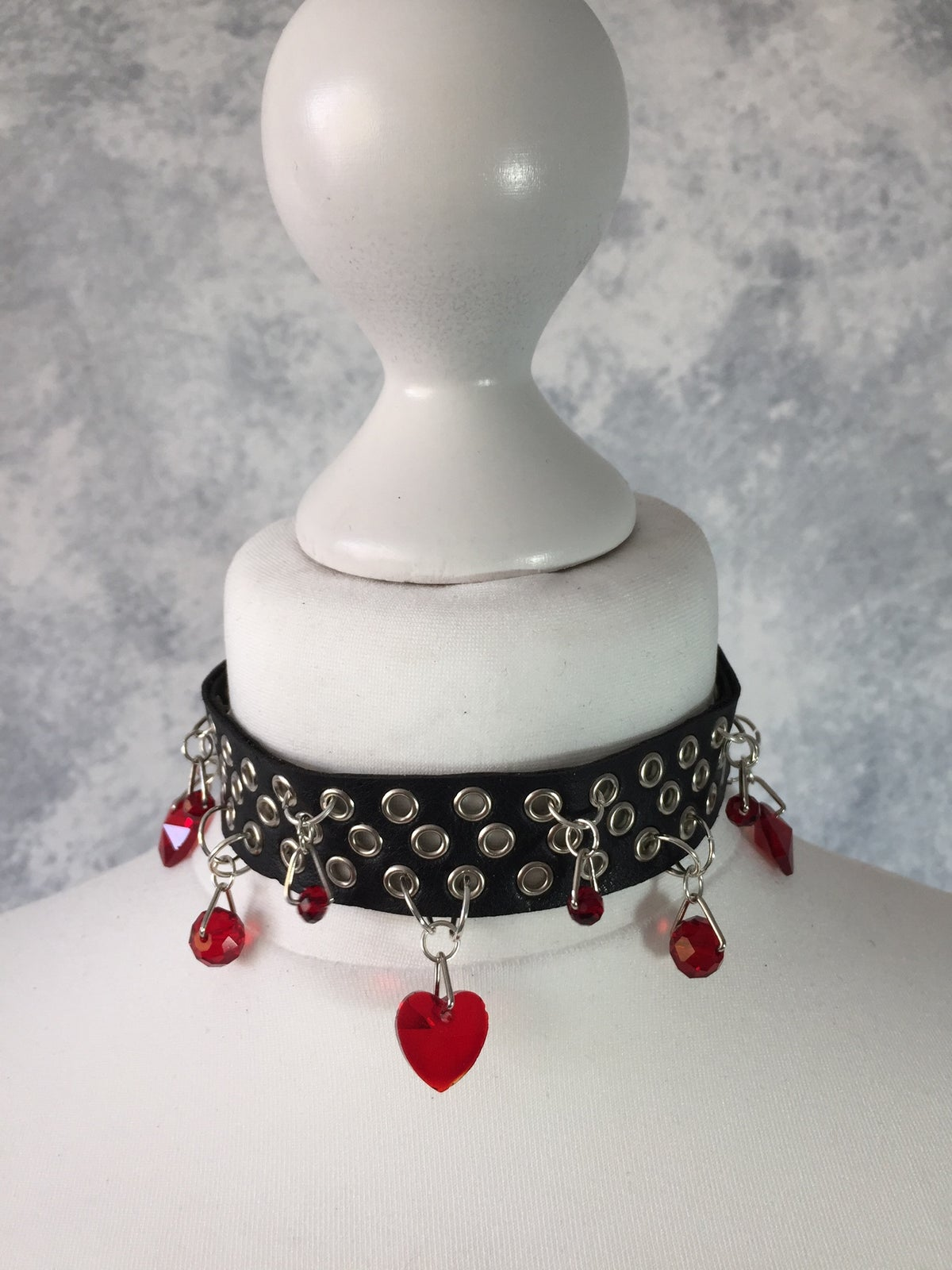 Image of Black collar with red heart beads