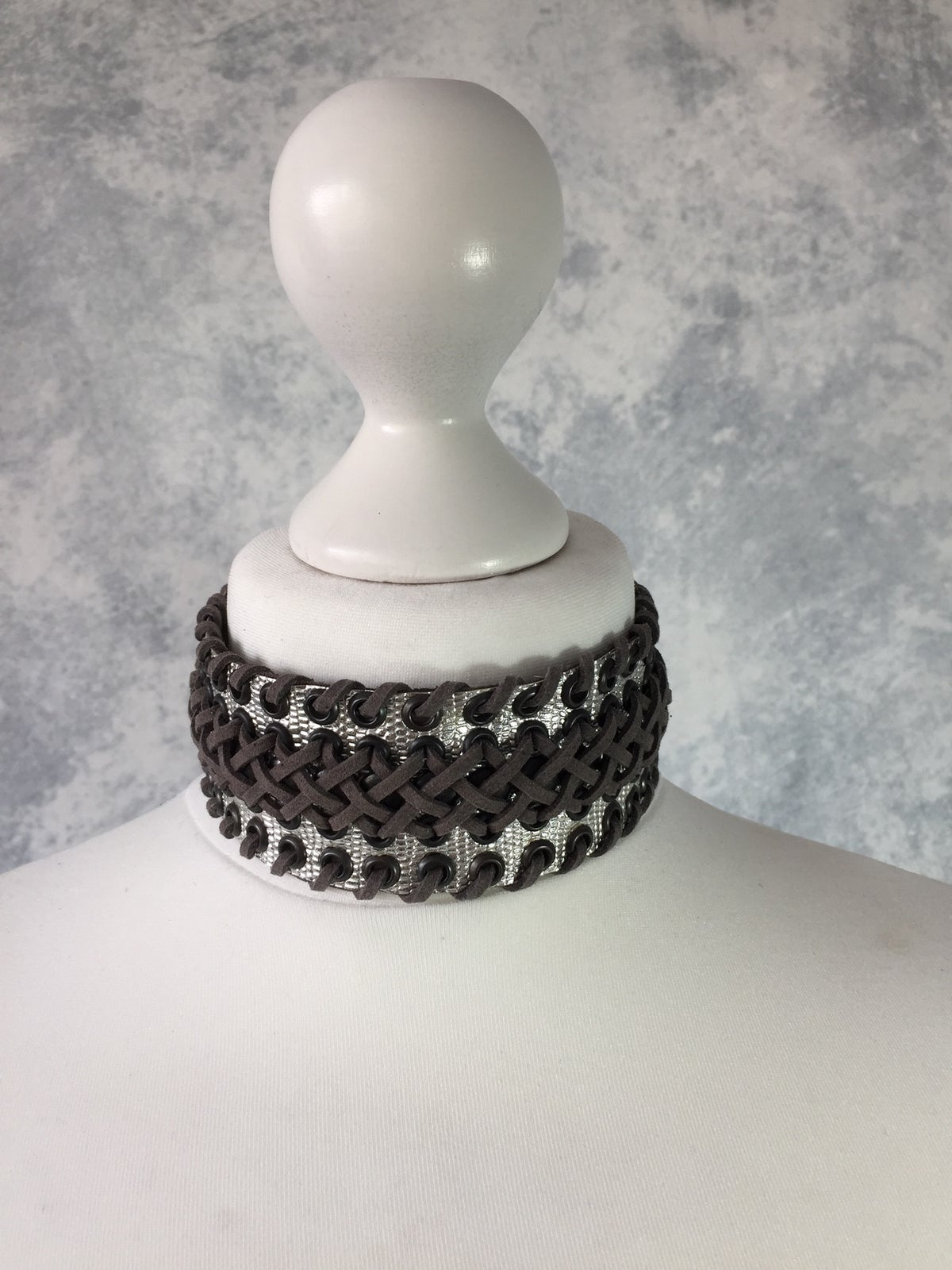 Image of Silver & grey Braided Collar