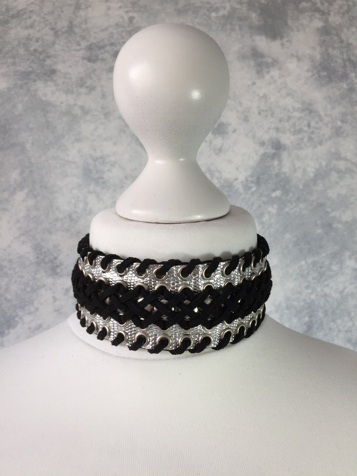 Image of Silver & Black braided collar