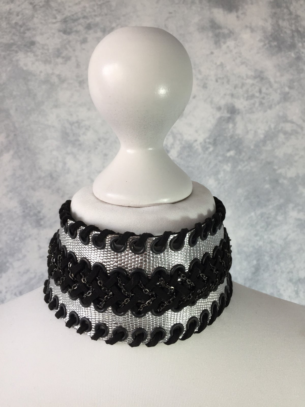 Image of Wide silver & black collar