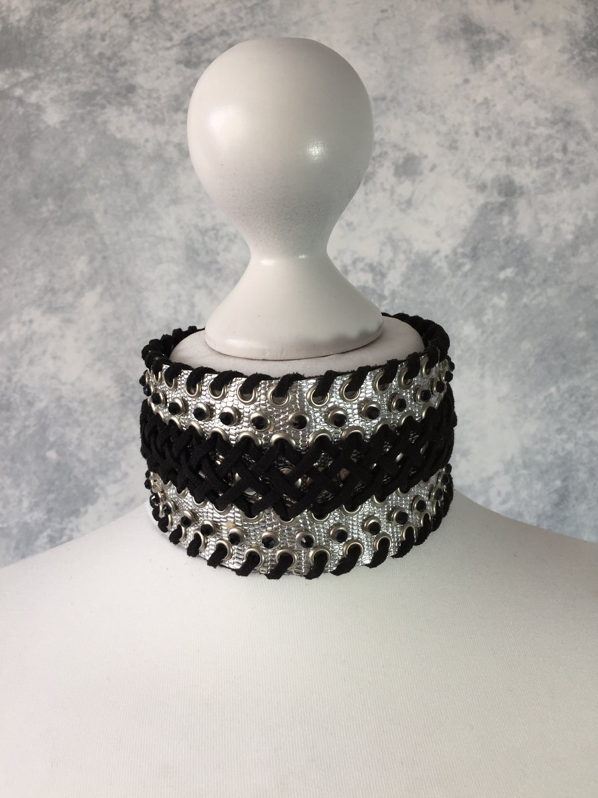 Image of Wide silver & black collar with rhinestones