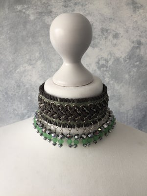 Image of Green collar with gunmetal & green opal beads