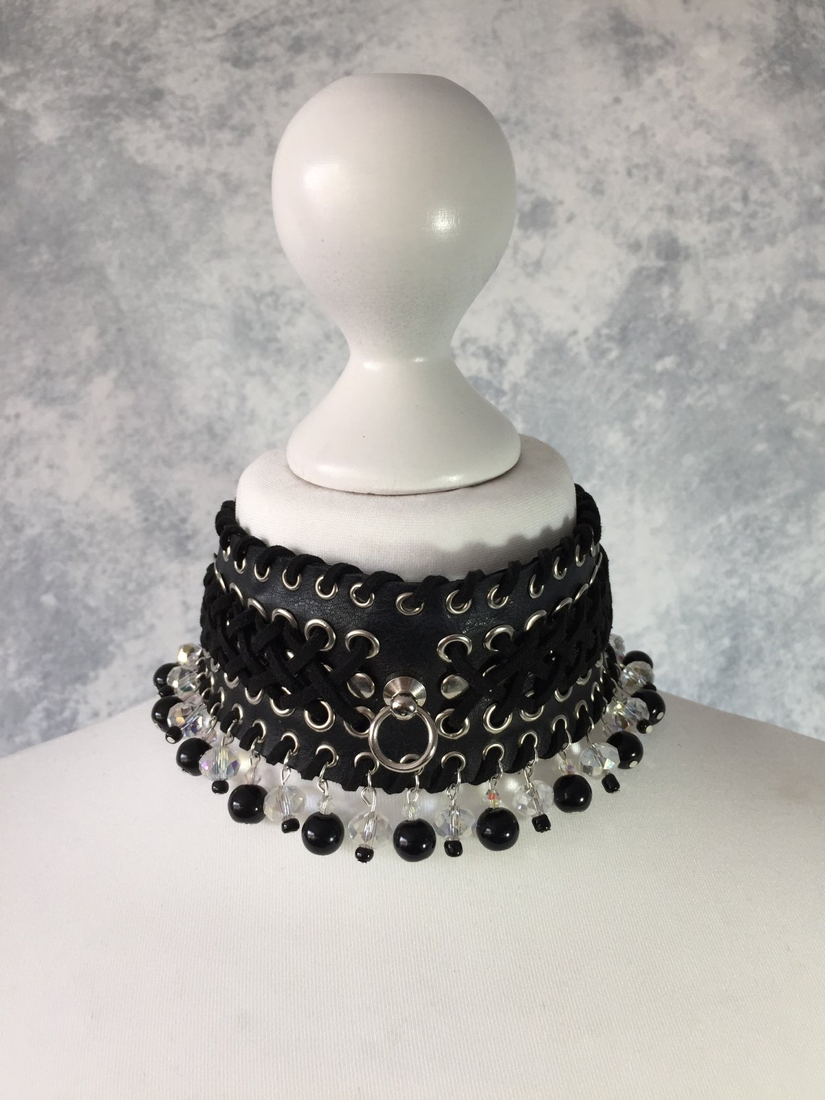 Image of Black o-ring & crystal beaded collar
