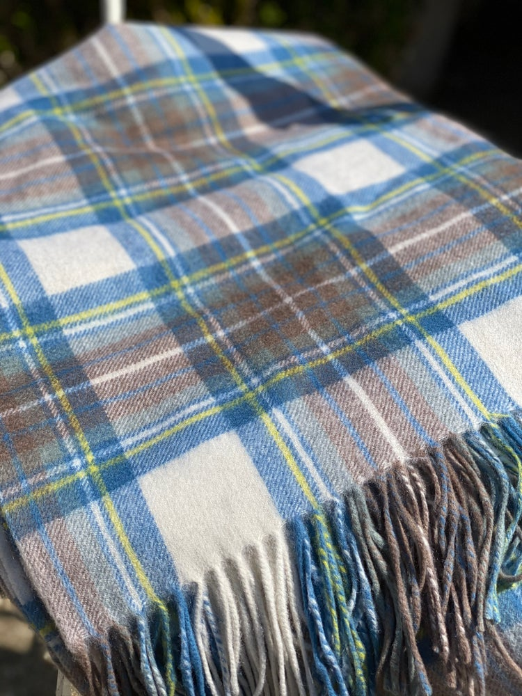 Image of Pale Tartan Lambswool Throw