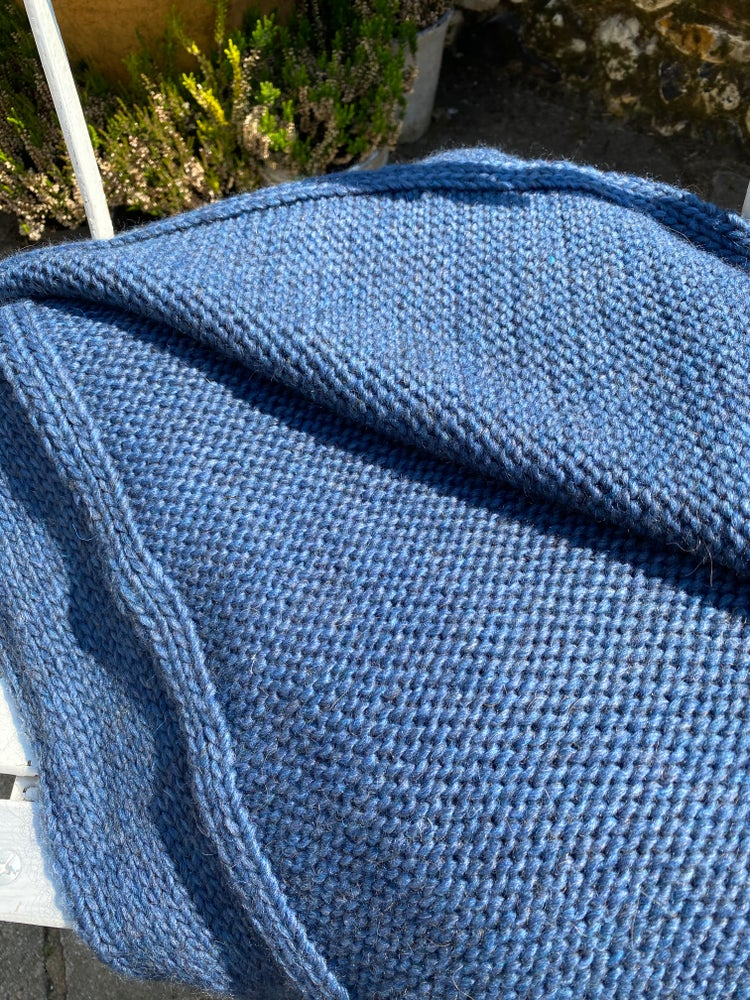 Image of Denim Blue Alpaca Knitted Throw