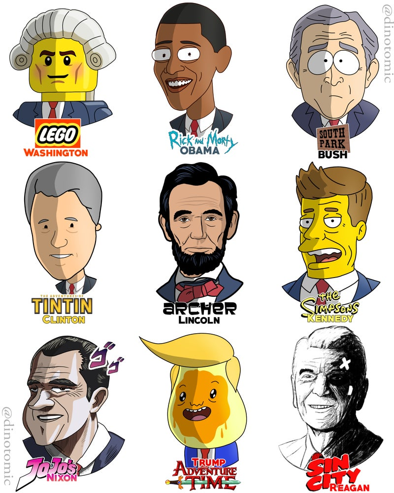 Image of #206 USA Presidents in different styles