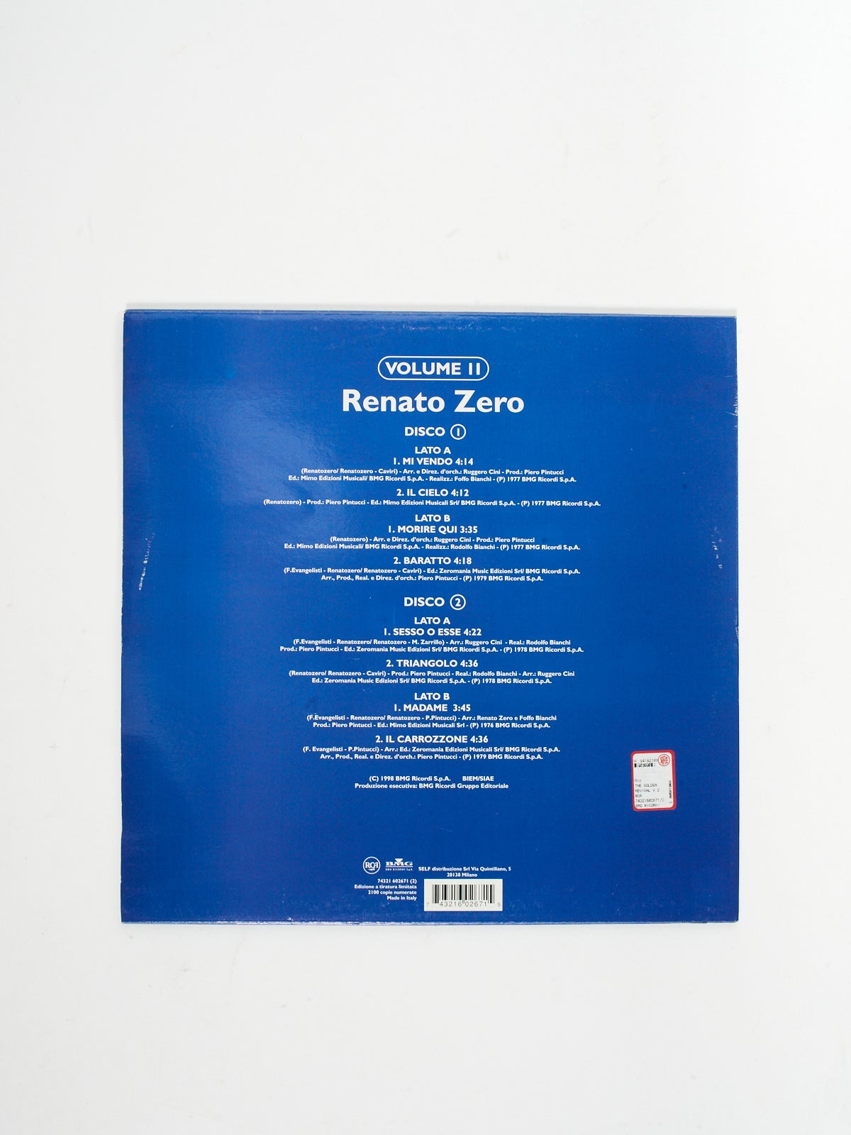 RENATO ZERO - THE GOLDEN REVIVAL ORIGINAL VINYL