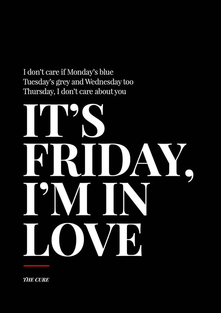 "Image of The Cure - ""It's Friday I'm in Love"" Poster"