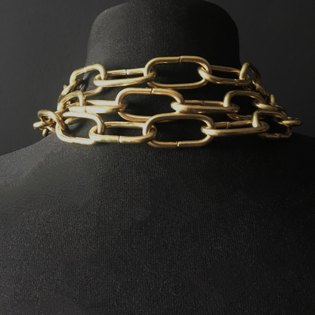 Gold triple chain ring necklace