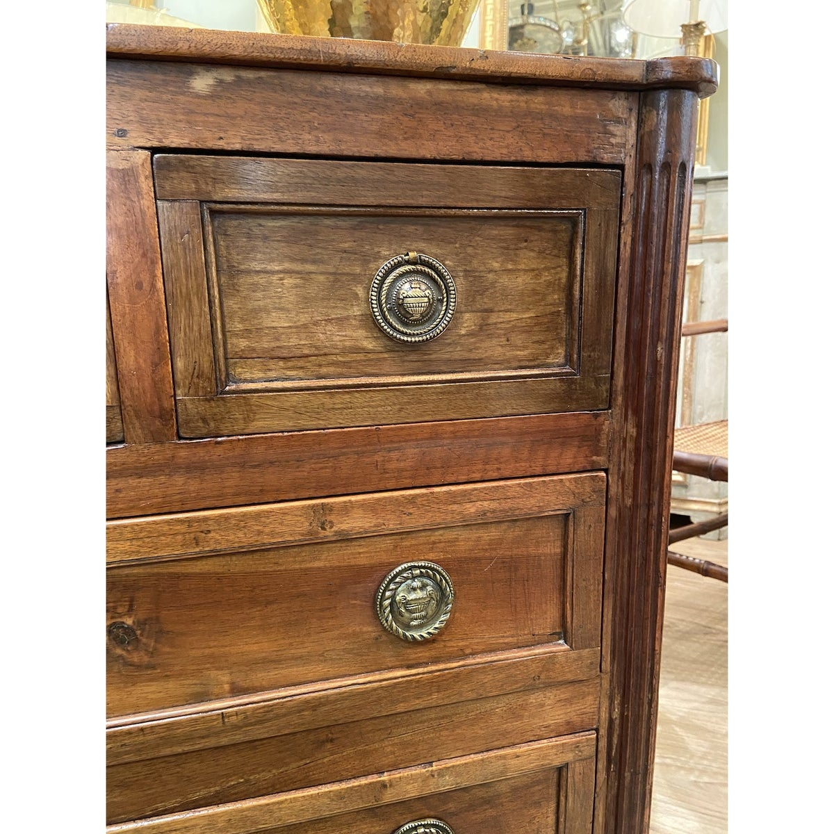 Image of 19th Century French Walnut Five Drawer Commode