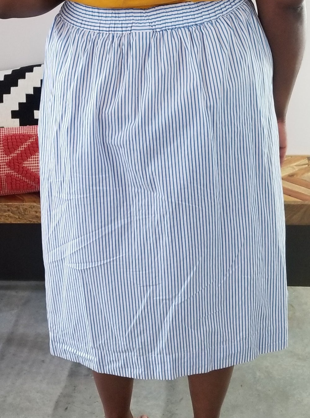 Image of Blue and White Pinstripe Button Front Midi Skirt Women's Size XXL