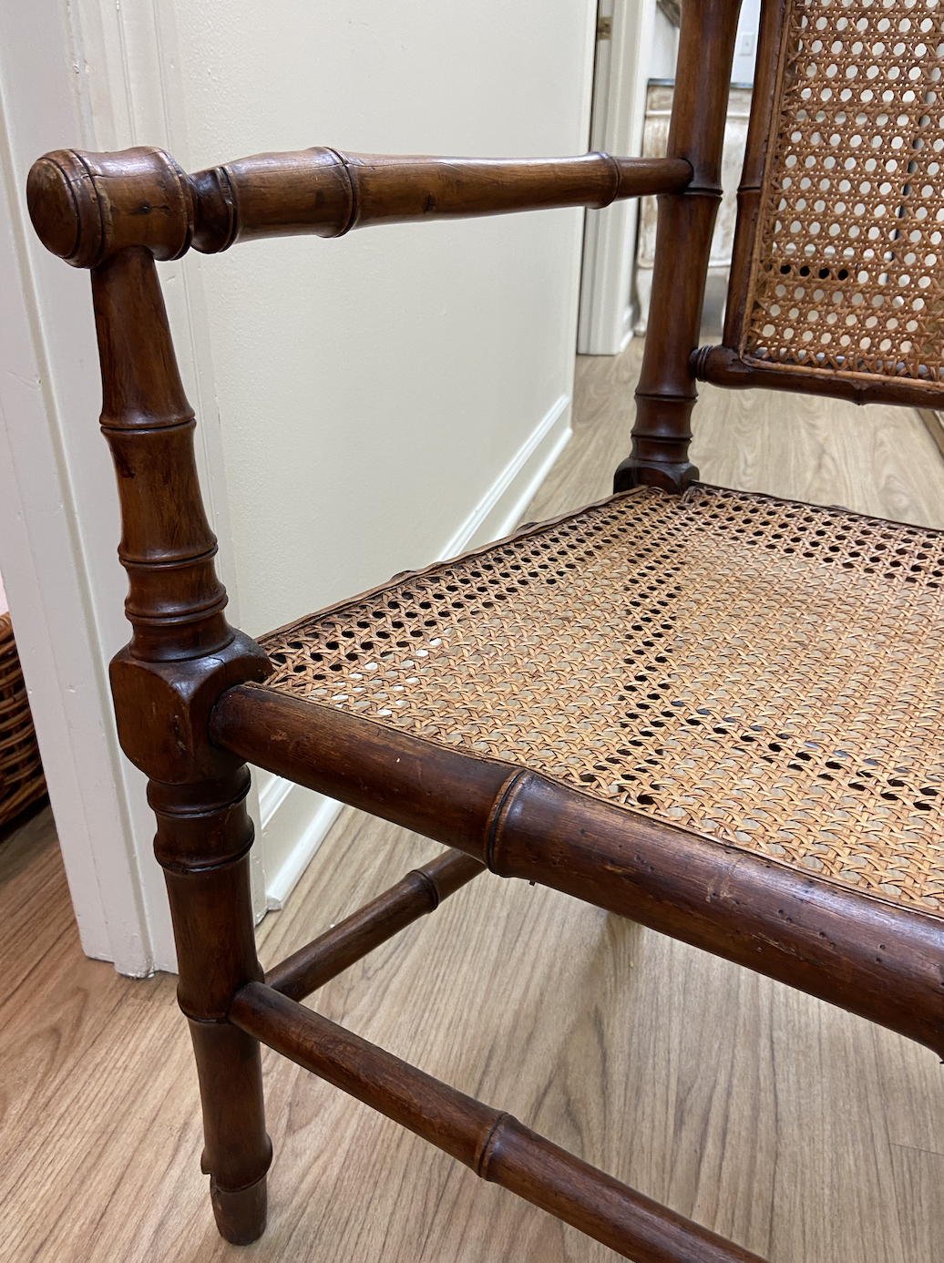 Image of Vintage French Bamboo Design Chair With Cane Back and Seat