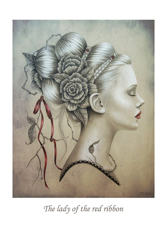 Image of The lady of the red ribbon 60 x 40 cm