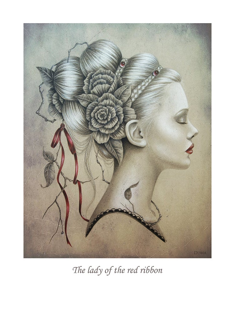Image of The lady of the red ribbon 40 x 30 cm