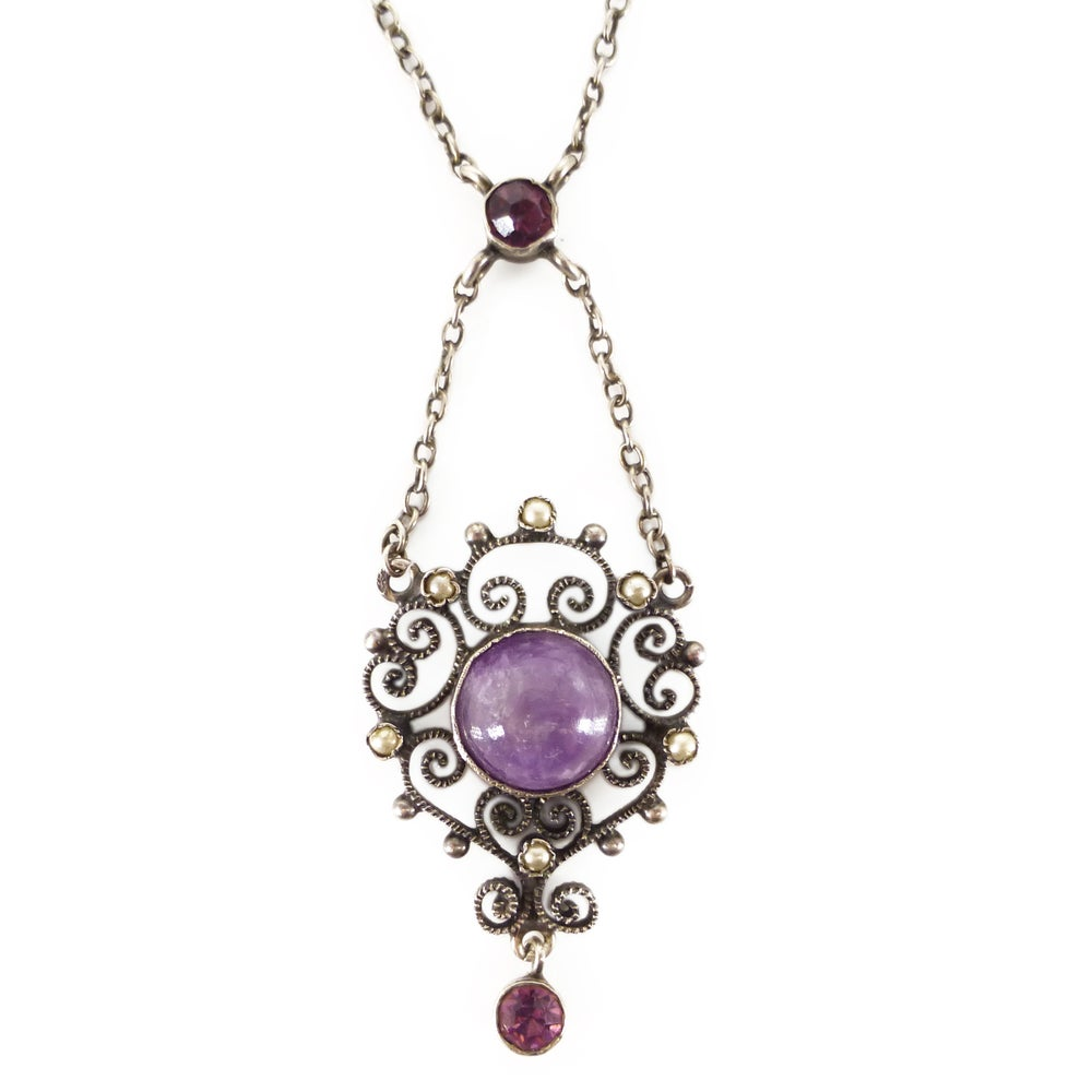 Image of Antique Edwardian Silver Amethyst & Pearl Lavalier Pendant Necklace