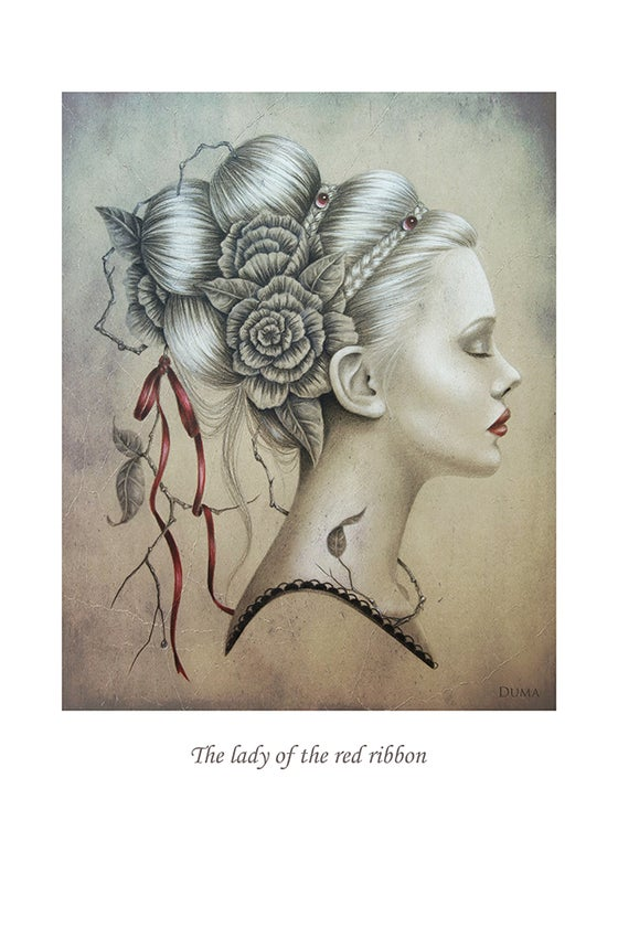 Image of The lady of the red ribbon 30 x 20 cm