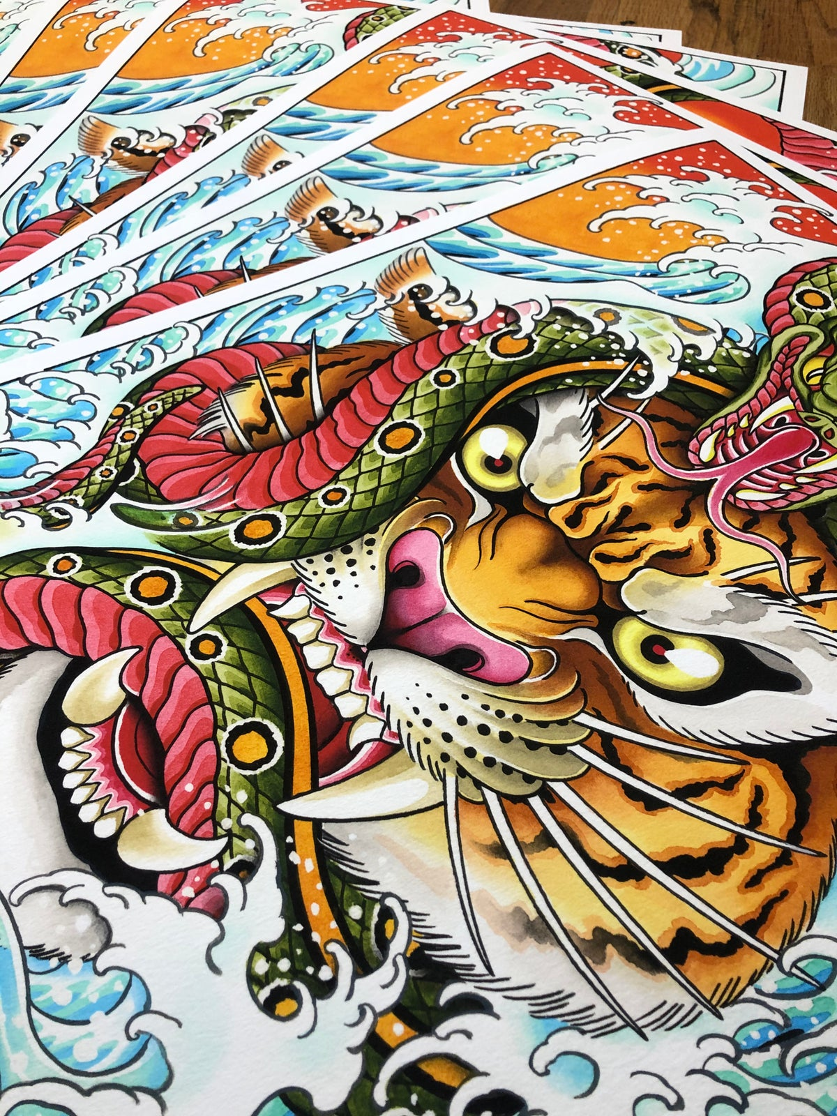 16x20 Tiger and Snake Giclee Print