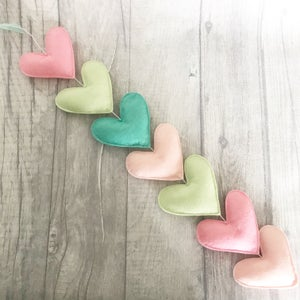 Image of Pink and green heart garland
