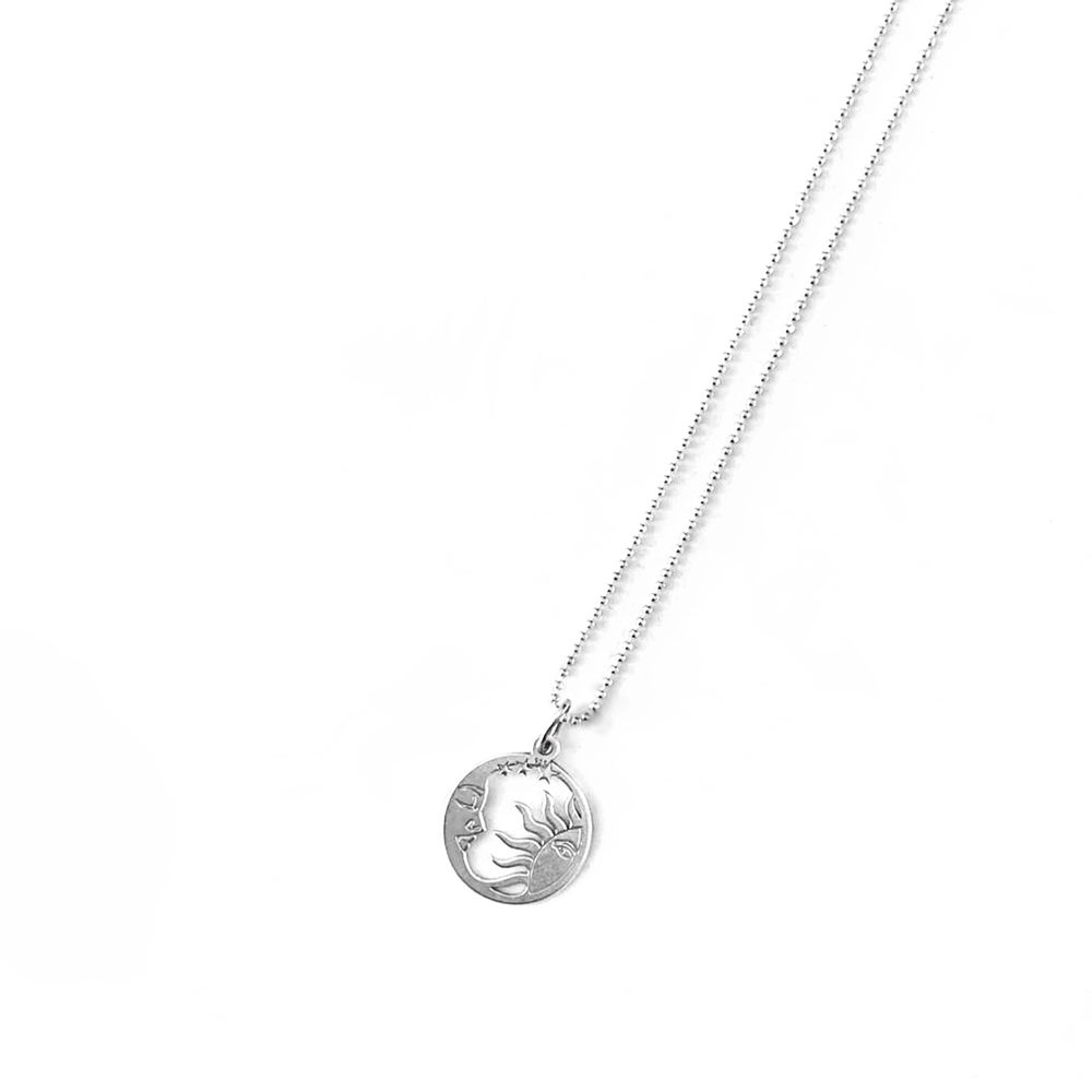 Image of Sterling Silver Sun & Moon Charm Necklace