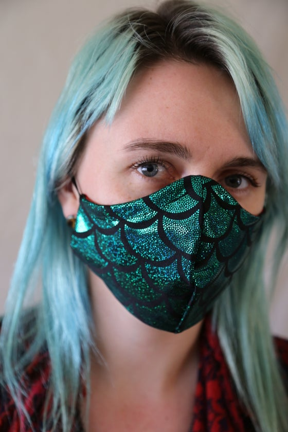 Image of Green Scale Locally Made Cotton/Spandex Mask