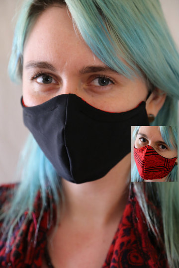 Image of Solid Black Locally Made Spandex/Cotton Mask