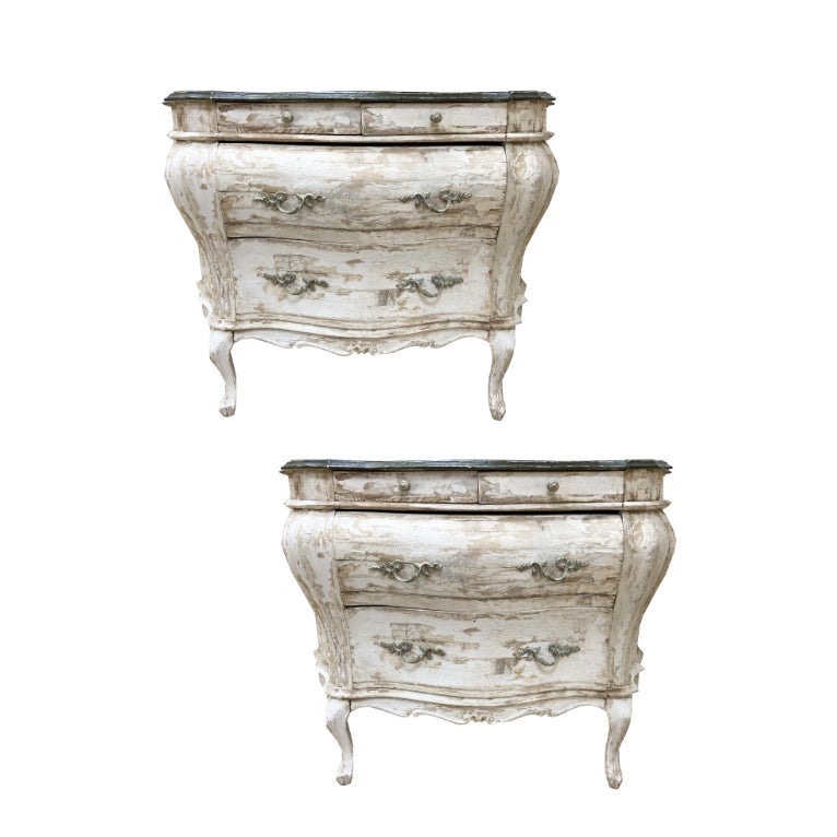 Image of Pair of Vintage Venetian Painted Bombe Commodes