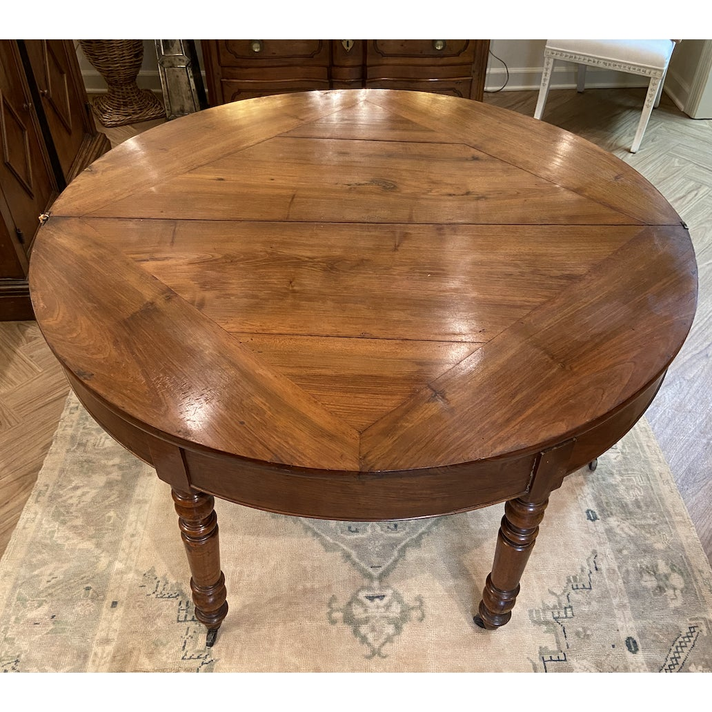 Image of 19th Century French Walnut Demilune Table With Turned Legs on Casters