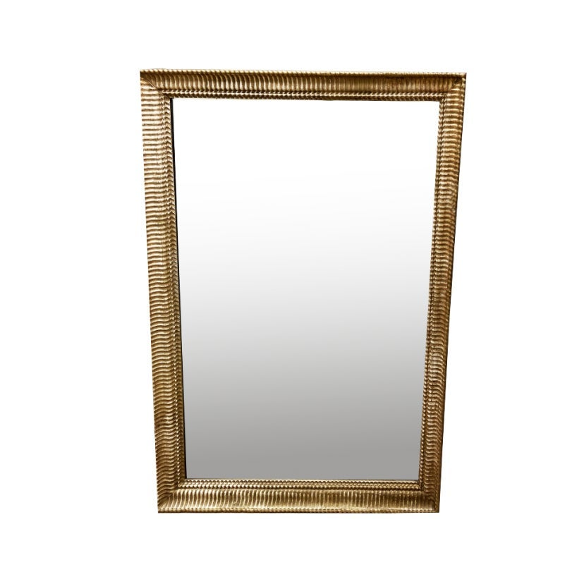 Image of Large 19th Century French Giltwood Mirror With Ripple Design Border