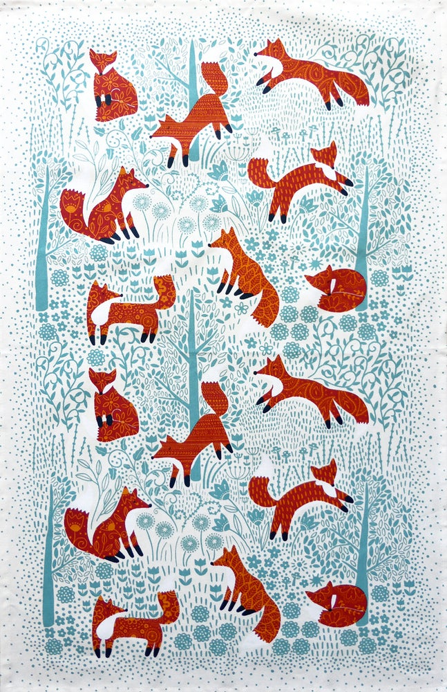 Image of Woodland Foxes Tea Towel