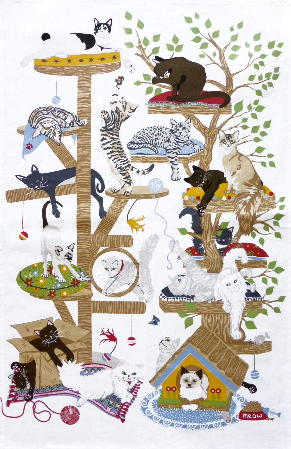 Image of Playful Cats Tea Towel