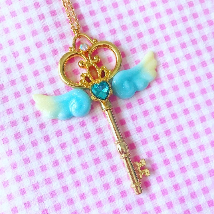 Image of Magical Key Necklace: Blue + Yellow