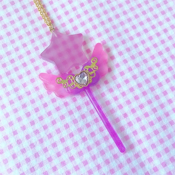 Image of Star Wand Necklace: Purple + Pink/Purple