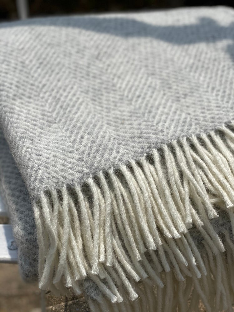 Image of Silver Grey Wool Throw