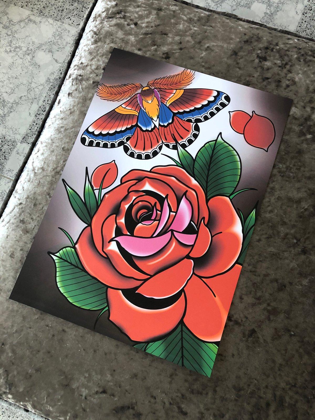 Moth and Rose Print