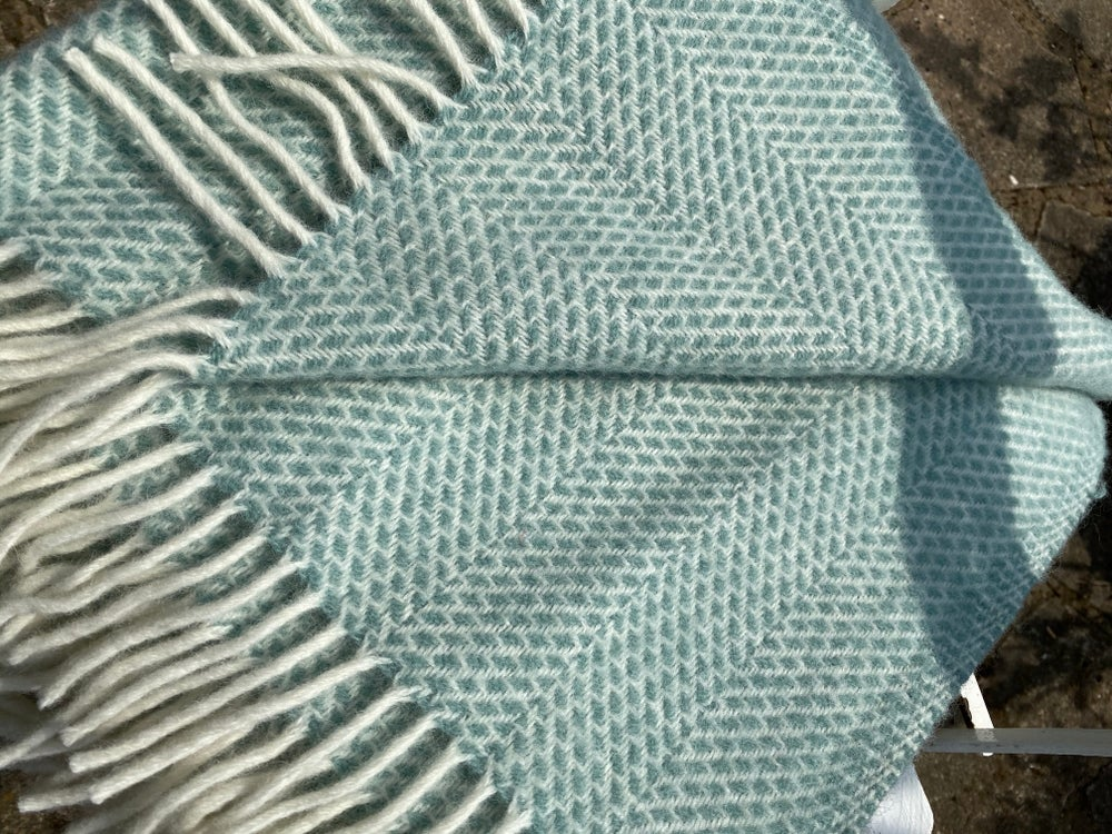Image of Seagrass Green and Off White Wool Throw