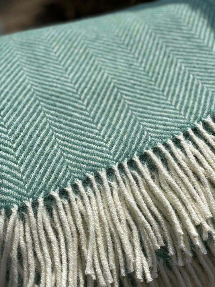 Image of Seagrass and  Off White Herringbone Throw