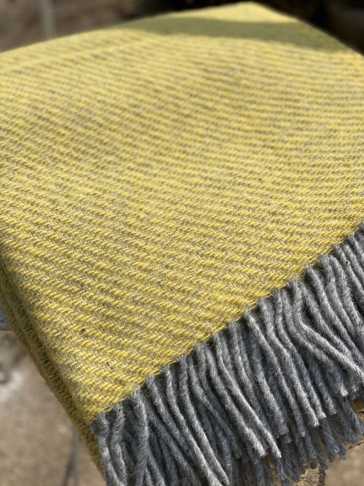 Image of Yellow and Grey Wool Throw