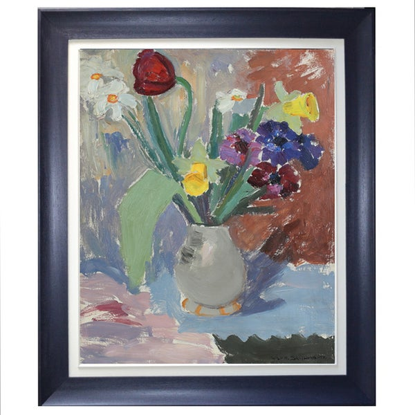 Image of 1945, Swedish Painting, 'Spring Flowers,' WILHELM H SKOGLUND.