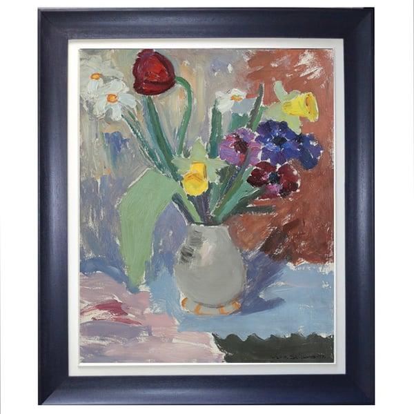 Image of 1945, Swedish Painting, 'Spring Flowers,' WILHELM H SKOGLUND.