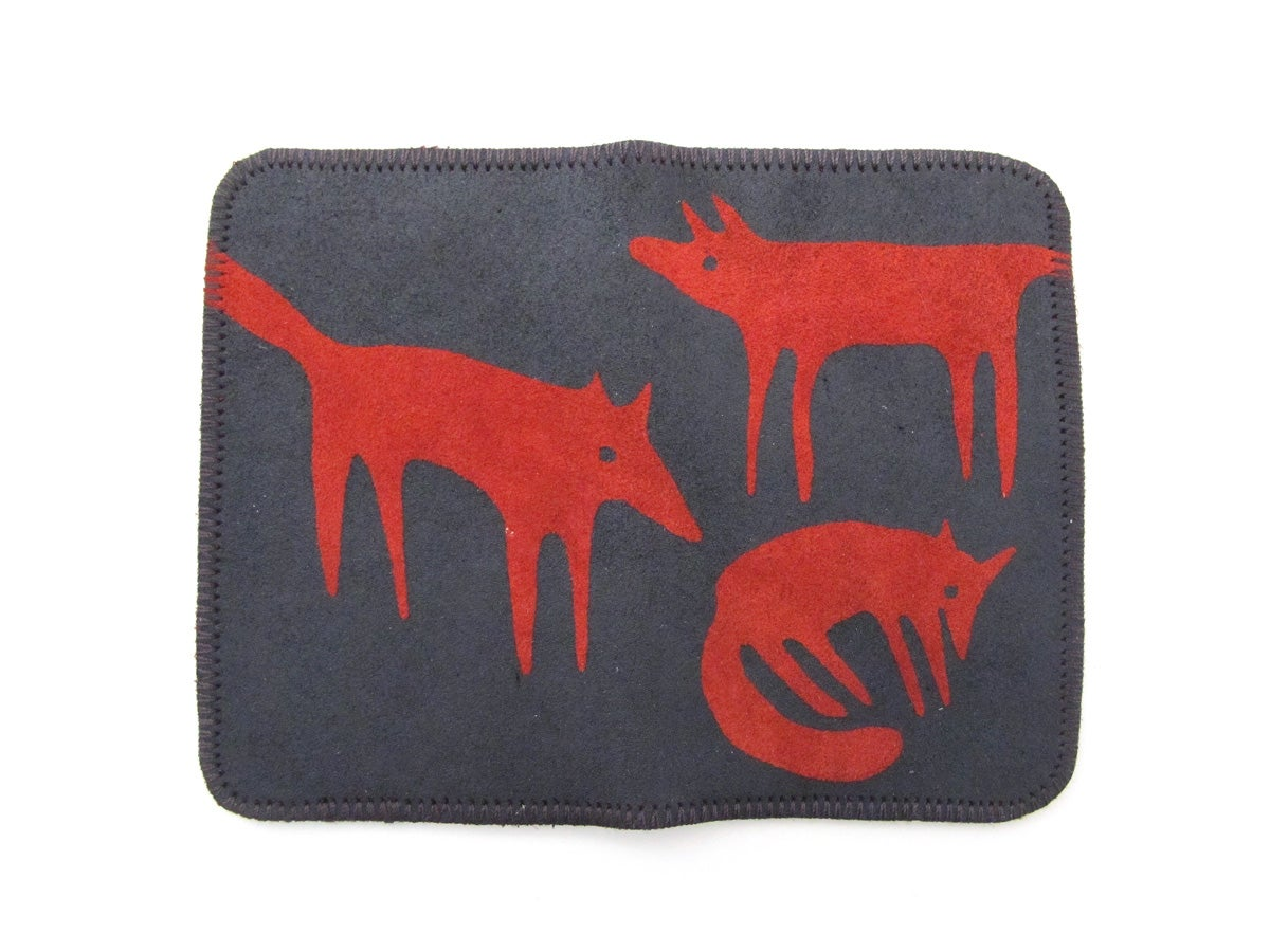 Image of Red Foxes Double Card Holder