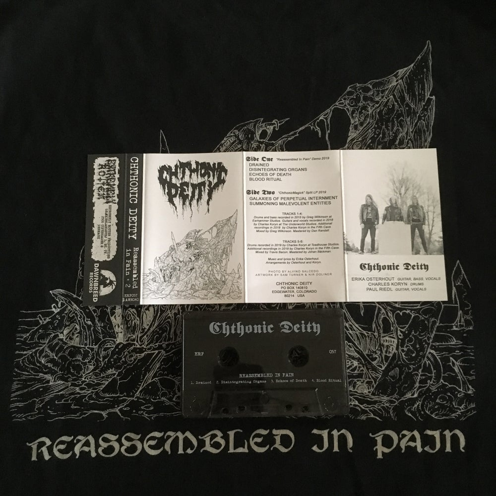 """Image of CHTHONIC DEITY """"REASSEMBLED IN PAIN +2"""" (IMPORT) CASSETTE Smokey Clear"""