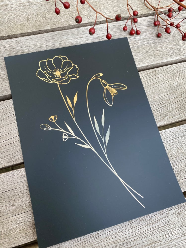 Image of A5 gold foil print