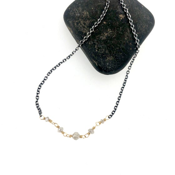 Image of Grey diamond necklace