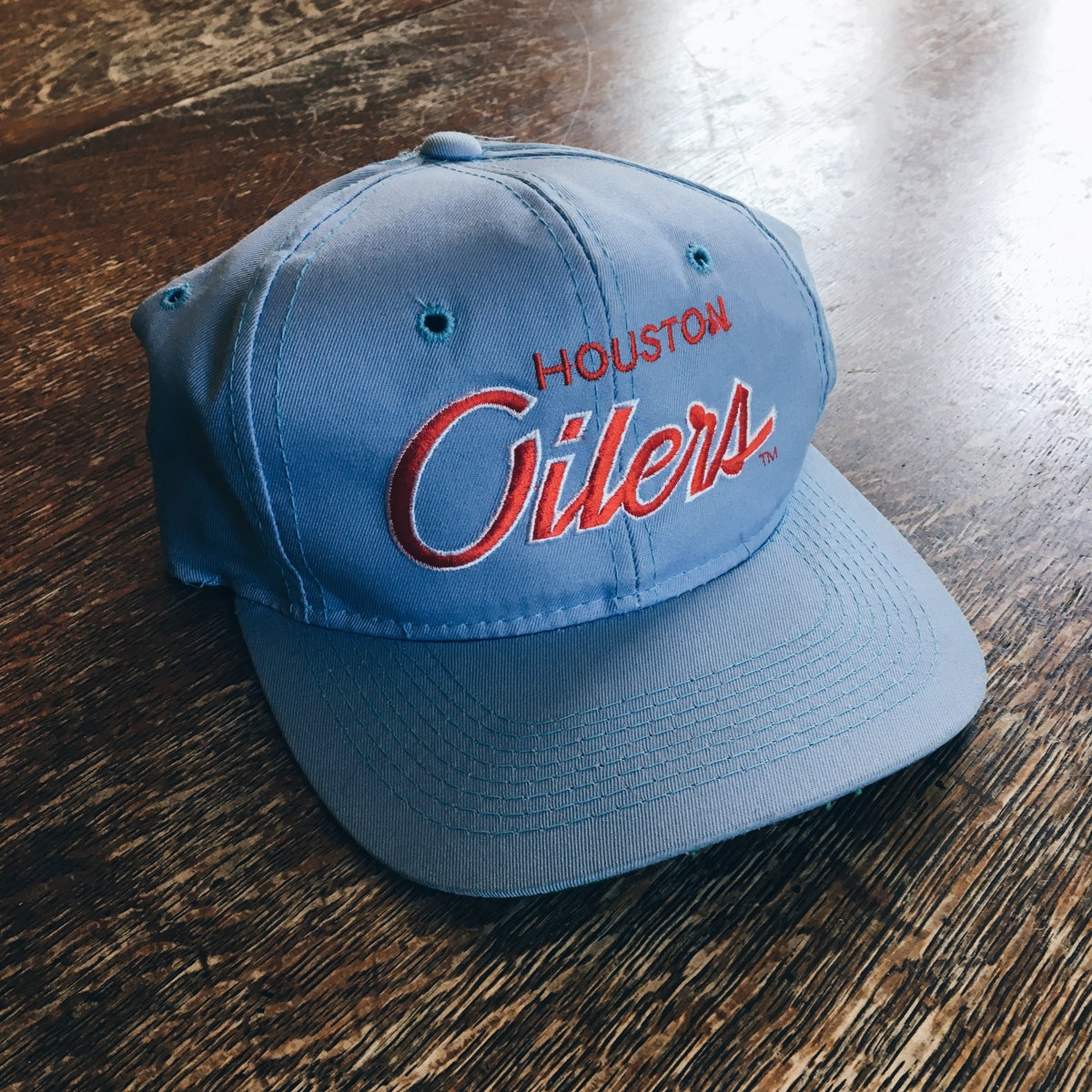 Image of Original 90's Sports Specialties Houston Oilers Snapback Hat.