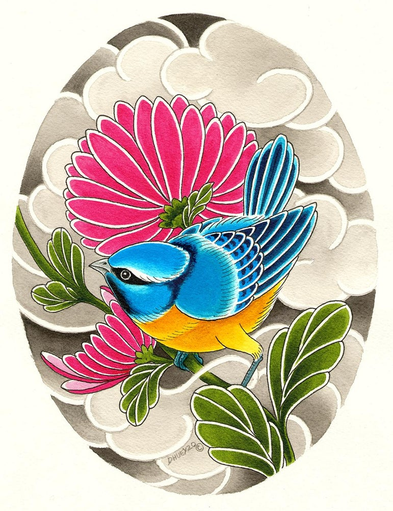 Image of Orange Bird and Small Bluebird