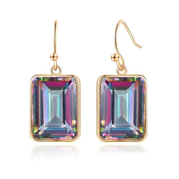 Emerald Cut Mystic Topaz Drop Earrings