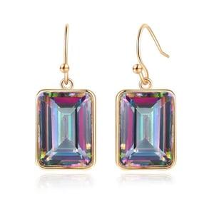 Image of Emerald Cut Mystic Topaz Drop Earrings