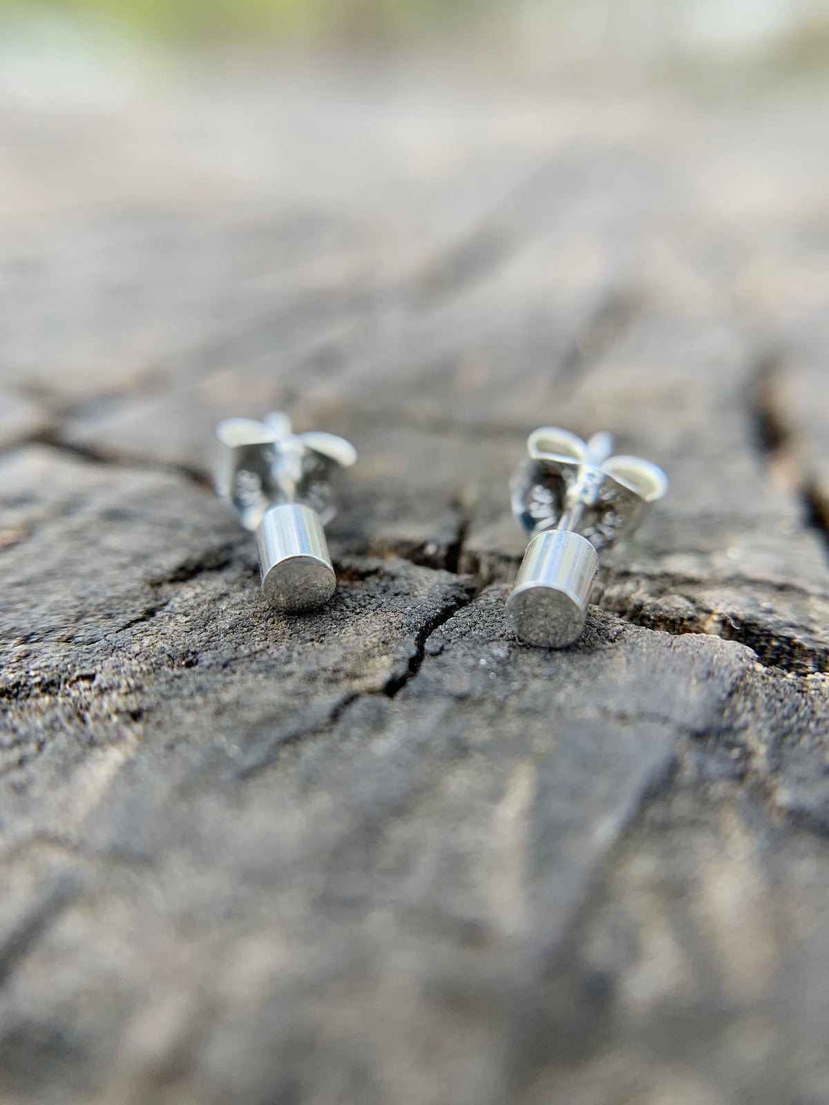 Sterling silver tube studs