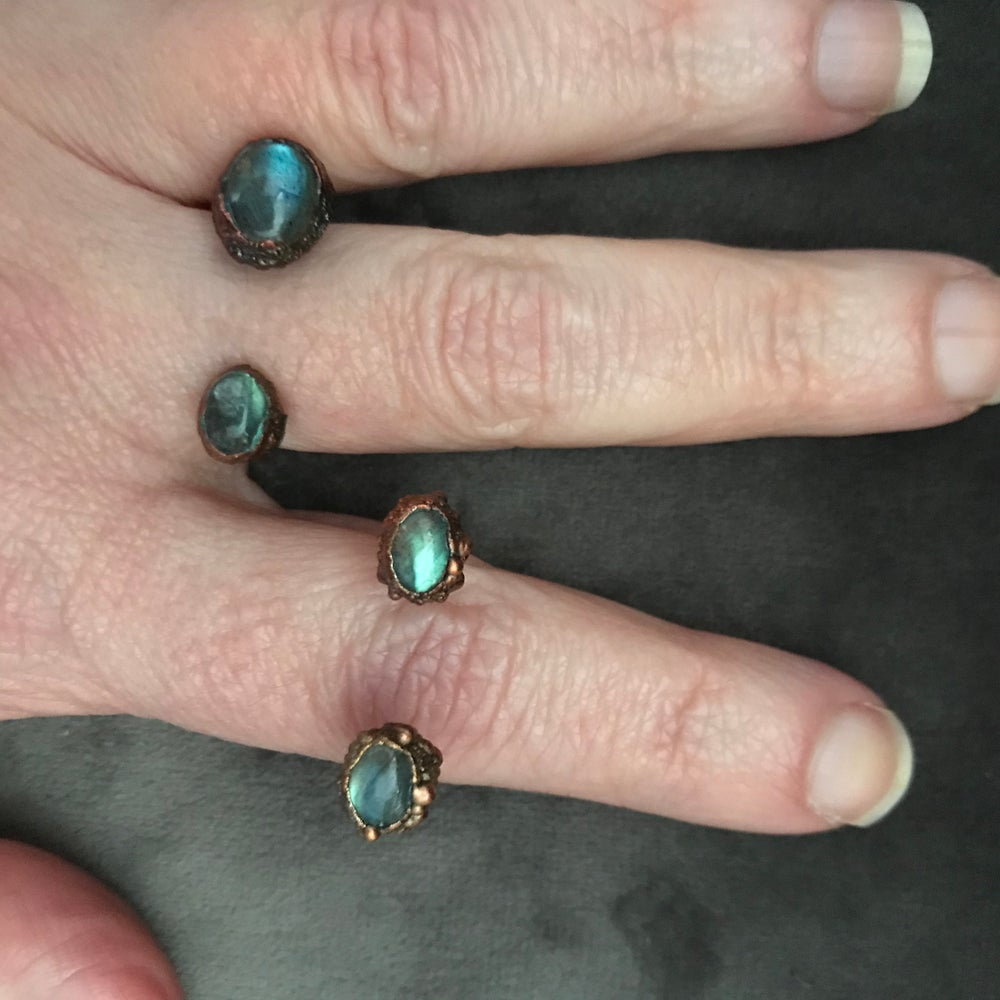 Image of ATLANTIC open front rings in labradorite