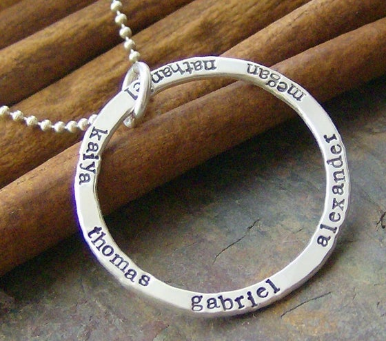 Image of small eternity ring necklace hand stamped personalized mothers inspirational necklace